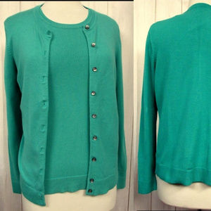 Twin Sweater Set Button Front Cardi & Tank Top M